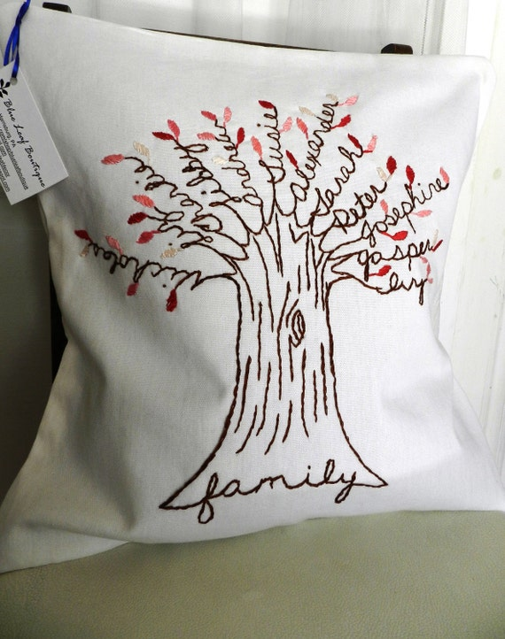 Personalized Family Tree Pillow Cover. 16 inch.  White Linen with shades of PINK leaves.