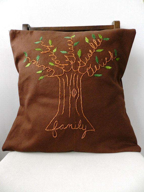 Family Tree Personalized Pillow Cover. Chestnut Brown. Gift for Dad. Grandparent Gift. Gift for Parents. Bride or Groom. Anniversary Gift.