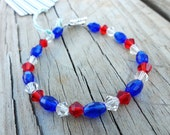 Glass Bead and Crystal Patriotic Bracelet