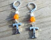 Orange T Earrings