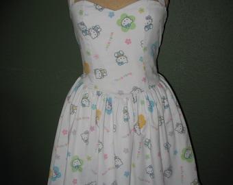 Custom Made to order Hello Kitty Sweetheart Ruffled Halter Strapless mini Dress