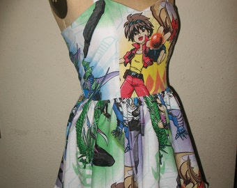 Custom Made to Order Bakugan Character Ruffled SweetHeart Mini Dress