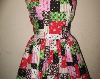 Pink Patchwork SweetHeart Ruffled Halter Mini Dress
