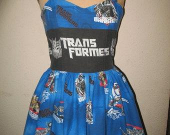 Custom Made to Order Geekery Character Pin Up Transformer Sweetheart Ruffled Halter Mini Dress