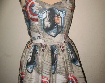 Custom made to order The First Avenger Captain American Sweetheart Ruffled Halter Mini Dress