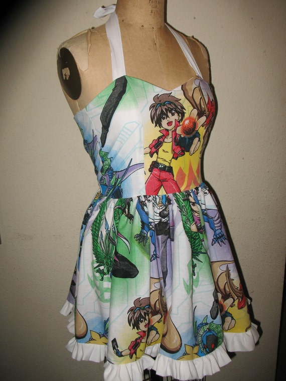 Custom Made to Order Bakugan Character Ruffled SweetHeart Mini Dress