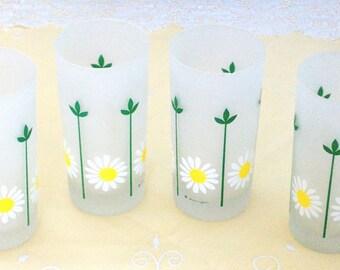 Sunflower Glasses, Set of 4 Drinking Glasses, Mod Frosted Flower Glasses, Retro Glassware, Small Tumblers