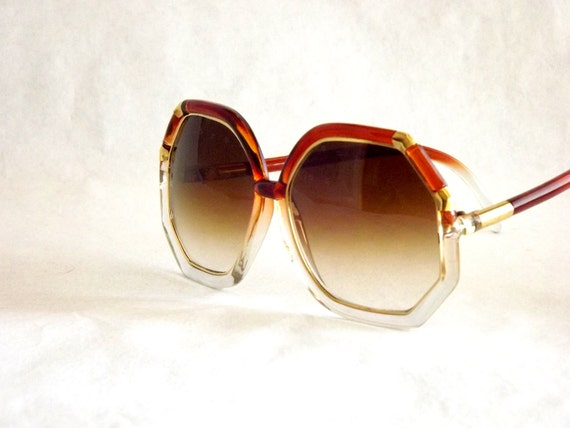 Sunglasses Big Translucent Octagon Clear Foxy Brown and Gold Mod Vintage 80's