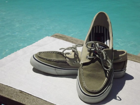 Vintage Nautical Sperry Topsiders Tan Brown Deck Shoes Size 8 Womens