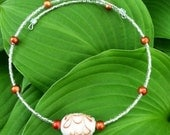 White and Orange Memory Wire Necklace