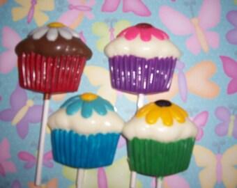 Cupcake Lollipops w/daisy