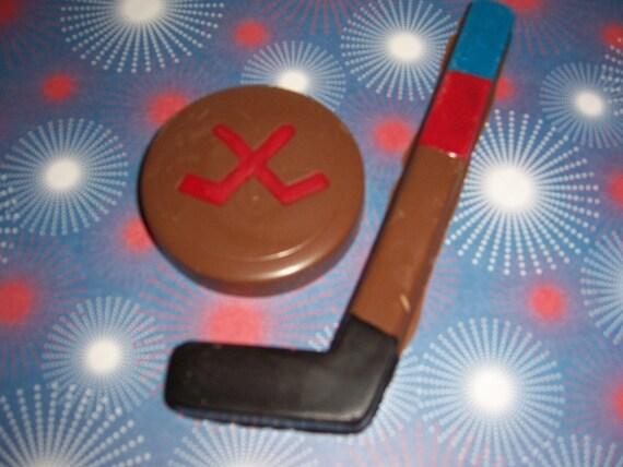 Chocolate Hockey stick and puck