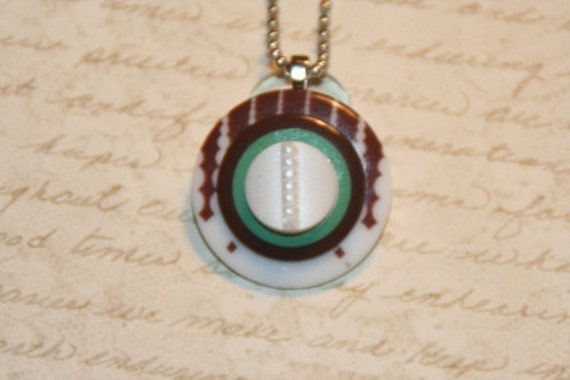 Thin Mint Dancing Nancy Button Necklace - Proceeds Benefit Cancer Research