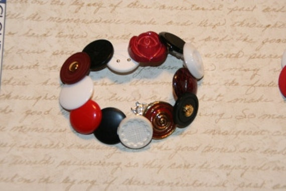 Red Mix Button Bracelet - Proceeds Benefit Cancer Research