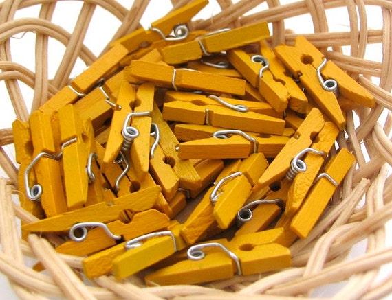 120 pcs Mini Clothespins Lemon Yellow (25x3mm)