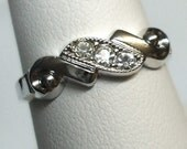 Vintage Sterling Silver C&C Ring with Crystal Stones in Size 7