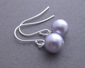 Lavender Bridesmaid Jewelry  -- Iris, Pearl Earrings, Lavender, Swarovski Crystal Pearl Dangles in Provence Lavender, Pale Purple, Lilac