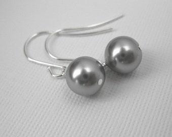 Silver Bridesmaid Earrings  -- Gray Pearl Earrings, Grey, Pearl, Bridesmaids Earrings, Classic, Swarovski Crystal Pearl Dangles -- Pale Gra