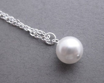Set of 5, Wedding Jewelry, Pearl Necklace, Five Sterling Silver Swarovski Pearl Bridesmaids Necklaces