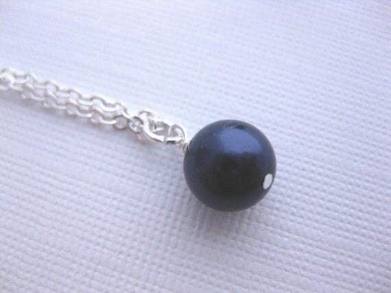 Navy Bridesmaid Necklace,  Night Blue Pearl & Sterling Silver Necklace, Midnight Blue, Bridesmaids Jewelry, Dark Blue Necklace