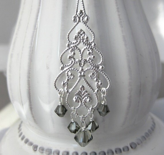 Grey Colour Earrings: Items Similar To Crystal Chandelier Earrings, Gray