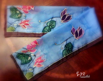 Cyclamens - Handpainted Silk Scarf