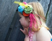My Little Flapper Girl....Turquoise,Orange, Hot Pink,Lime Green an Yellow Headband