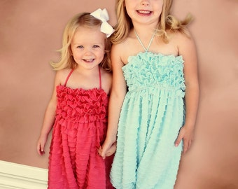 Baby girl romper, Long Ruffled Romper, Aqua,Coral,White,Bright Yellow,Hot Pink, Deep Purple,Turquoise,  Light Peachy Pink and Coral