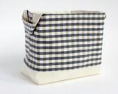Fabric Storage basket - Country Chic decor - small gingham fabric organiser bin