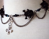 Gothic Choker Necklace Black Chain Skull and Cross Bones Style Heart Emo Goth