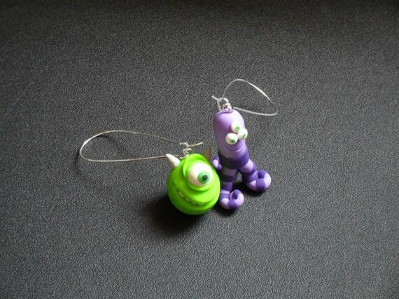 Look me in the eye,Polymer clay earrings, Monster earrings.