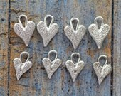 Lot of 8 Sterling Silver Heart Charms 2 Sizes