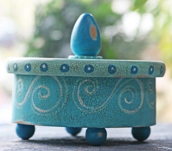 Sea Blue Hand Painted Wood Keepsake Box