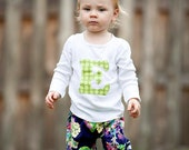 Ruffle Pants and Initial Top Set MIdnight Purple and Green Dots