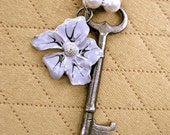 """Antique Skeleton Key Necklace """"Fade to Grey"""" Light Grey Faux Pearls With Silver Shiny Metal Flower Vintage Key Necklace"""