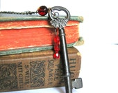 "Antique Skeleton Key Necklace ""The Mina Harker"" Blood and Ruby Red Gothic Dracula Vampire Bat Vintage Key Necklace"