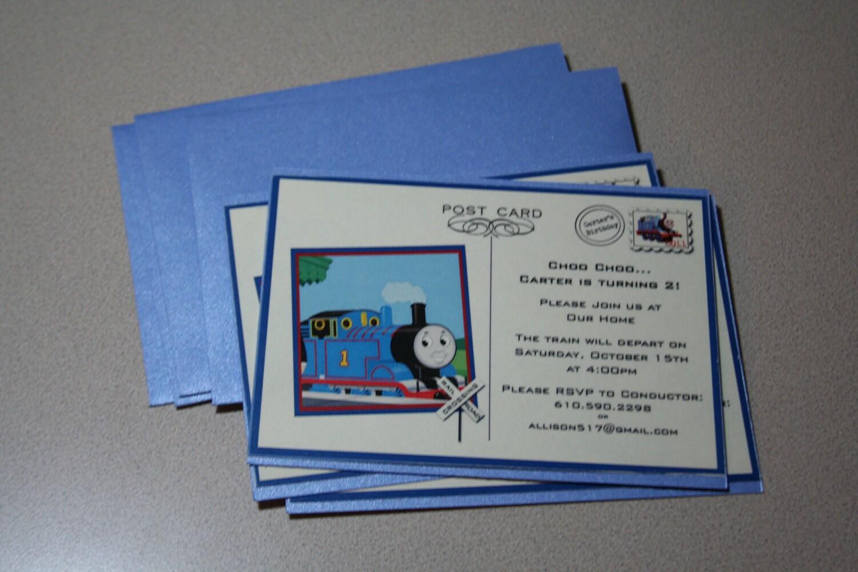 items similar to thomas the train postcard birthday invitation on etsy