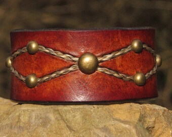 Leather Cuff Bracelet with Embedded  Horse Hair