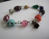 colorful skull magnetic clasp bracelet