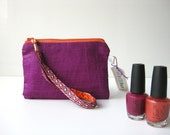 Small zipper pouch. coin purse. make up purse. purple orange silk - BagsByTravelher