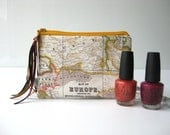 small zipper pouch coin purse. world map pouch. make up pouch. s a small world