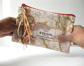 Zipper pouch coin purse  it's a small world red