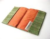Passport cozy travel wallet green Grass and orange silk