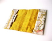 """World map Passport cover travel wallet """"It's a small world""""  yellow"""