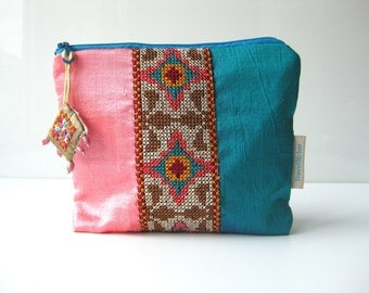 Make up cosmetic pouch silk cross stitch