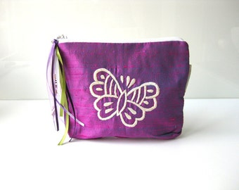 Butterfly make up pouch purple white silk cosmetic pouch. purple butterfly