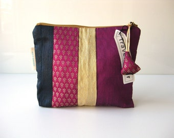 purple zipper pouch. silk zipper pouch. silk bag in bag. cosmetic pouch. make up bag. travel pouch. gold purple blue. stripes silk