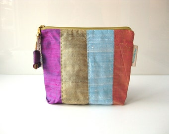 Cosmetic pouch. silk zipper pouch. colorful pouch. travel pouch. make up pouch. bag in bag. travelher colors