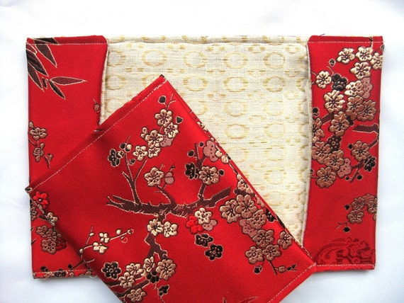 Passport cover Travel wallet chinese silk Red China