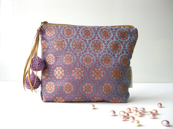 Travel make up pouch medium size silk golden sun